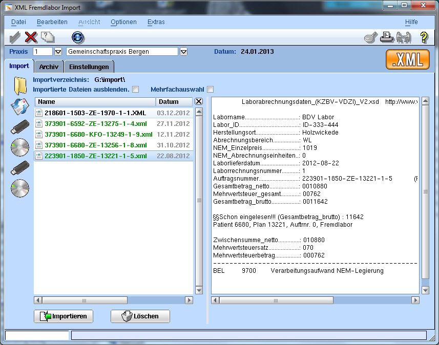 Abrechnung XML-Import VISIdent - BDV Branchen-Daten-Verarbeitung